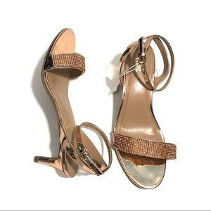 FIONI 8 Wide Rose Gold Jeweled Strap Kitten Heels